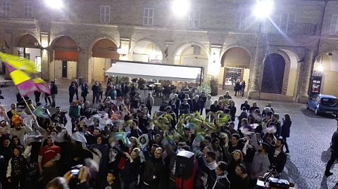Alcuni momenti della manifestazione 100 giorni al Palio, in Piazza del Popolo