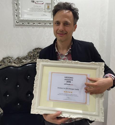 Lo stilista fermano Emiliano Bengasi riceve il Wedding Awards 2016