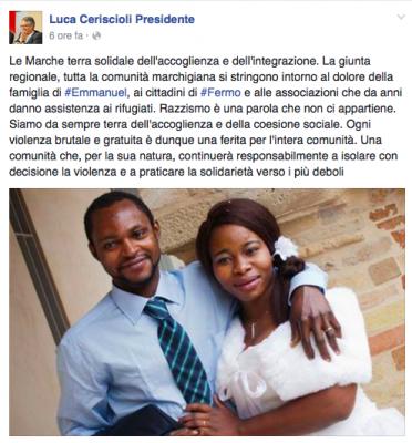 Il post su Facebook del governatore Luca Ceriscioli