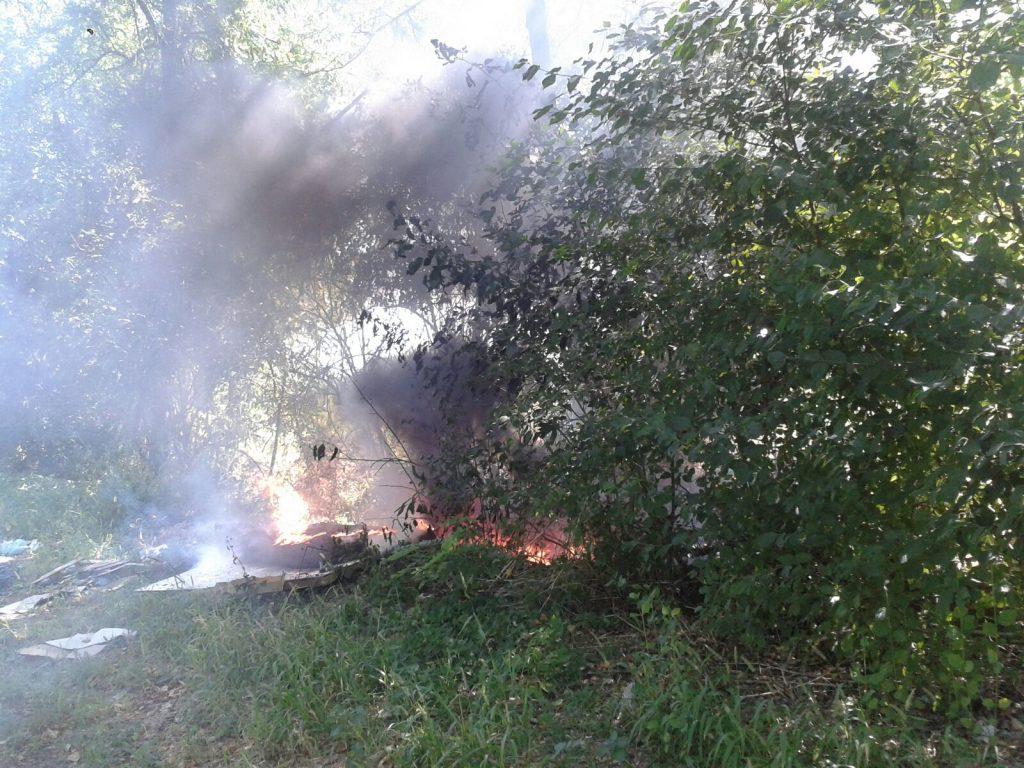 incendio sterpaglie strada