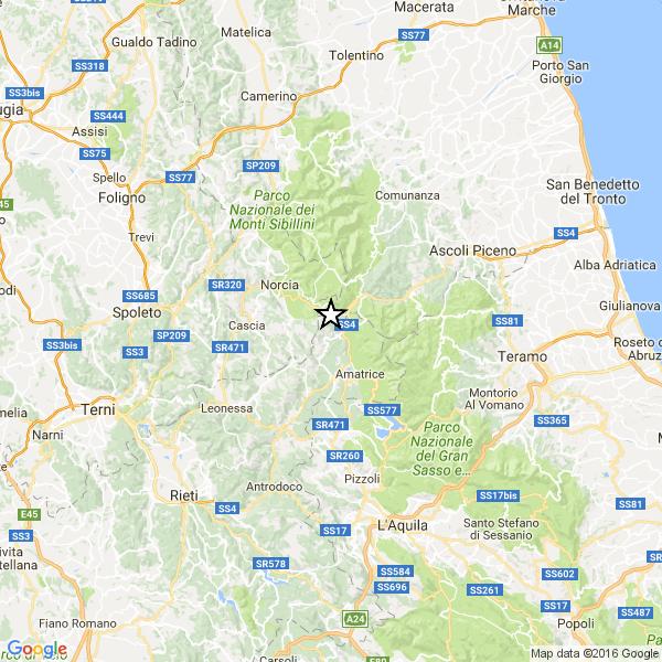mappa terremoto INGV