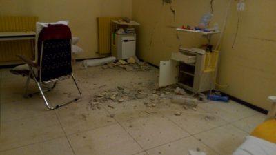 L'ospedale di Amandola dopo il sisma del 24 agosto