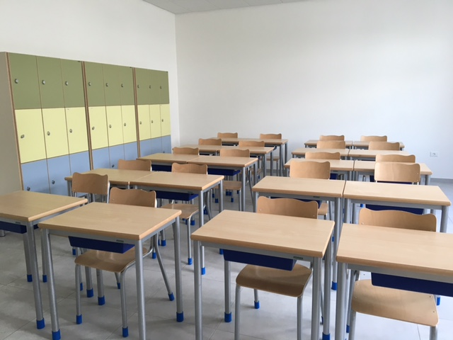 Un'aula della nuova scuola
