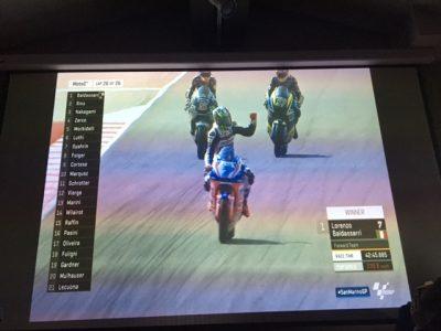 Scene dal video proiettato della gara di Misano Adriatico