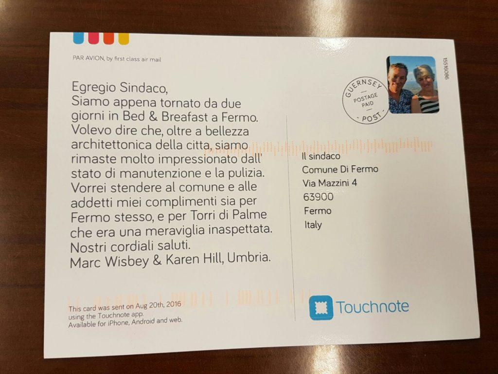 Cartolina turisti sindaco