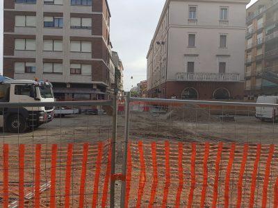 i lavori in corso in piazza Matteotti