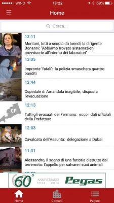 Home page della App di Cronache Fermane