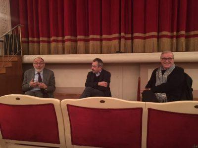Pier Luigi Celli, Angelo Ferracuti e Aldo Bonomi al Teatro comunale di Porto San Giorgio